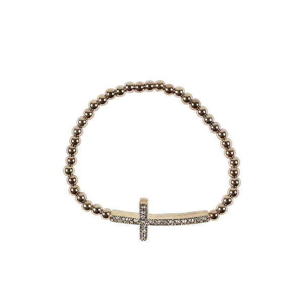 Gold Rhinestone Cross Bracelet by Caroline Hill