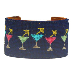 Happy Hour Needlepoint Cuff Bracelet by York Designs - Country Club Prep