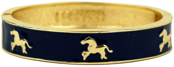 Horse Bangle in Gold and Navy by Fornash