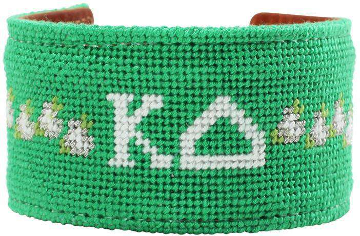 Kappa Delta Needlepoint Cuff Bracelet in Green by York Designs - Country Club Prep