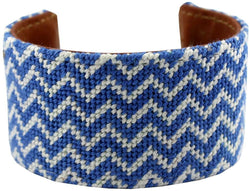 Bracelets - Kentucky Blue And White Chevron Needlepoint Cuff Bracelet By York Designs