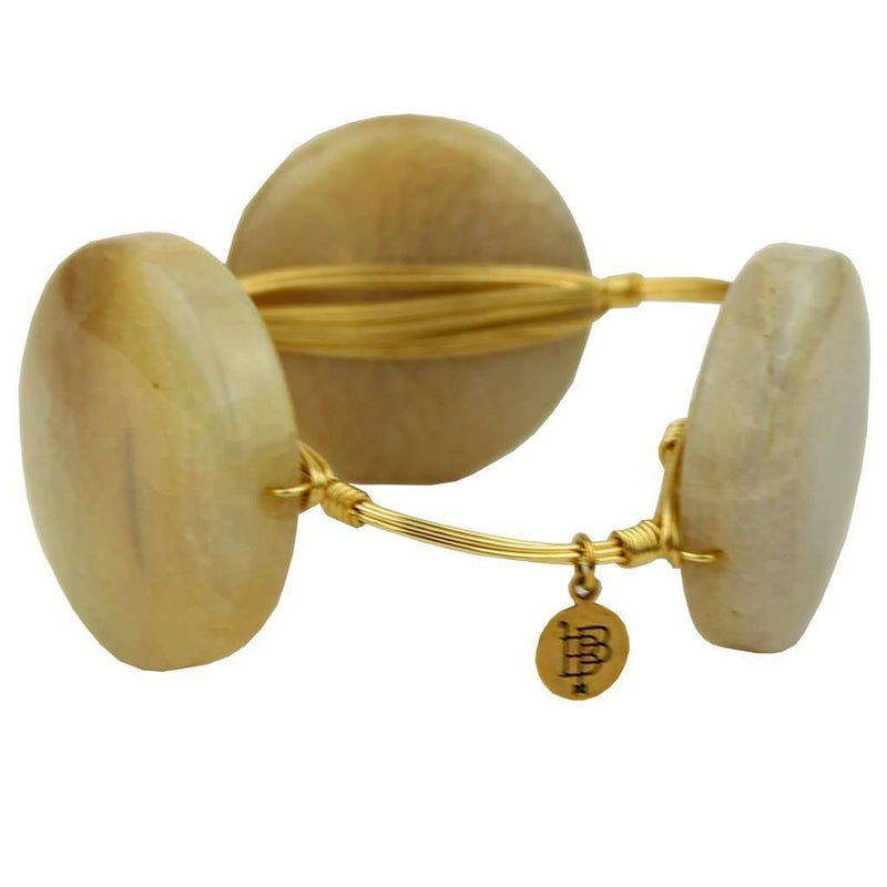 Large Round Stones Bracelet in Clear and Gold by Bourbon and Bowties