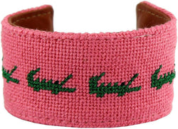 Later Gator Needlepoint Cuff Bracelet by York Designs - Country Club Prep