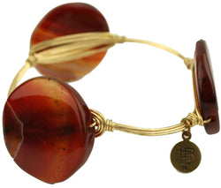 Bracelets - Medium Round Stones Bracelet In Orange And White With Gold By Bourbon And Bowties