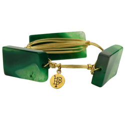 Bracelets - Medium Square Stones Bracelet In Green And Gold By Bourbon And Boweties