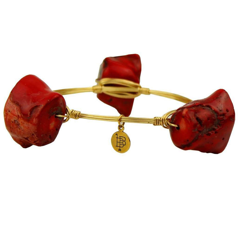 Bracelets - Medium Stones Bracelet In Red And Gold By Bourbon And Boweties