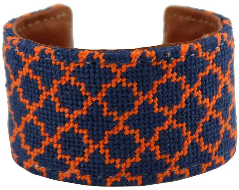 Navy and Orange Quatrafoil Needlepoint Cuff Bracelet by York Designs - Country Club Prep