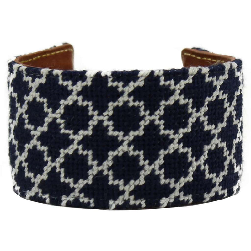 Navy and White Quatrafoil Needlepoint Cuff Bracelet by York Designs - Country Club Prep
