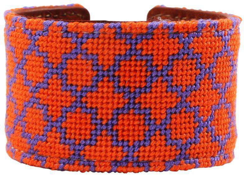 Orange and Purple Quatrafoil Needlepoint Cuff Bracelet by York Designs