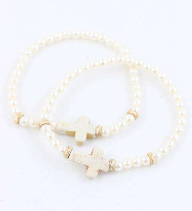 Bracelets - Pearl And Natural Cross Stretch Bracelet By Caroline Hill