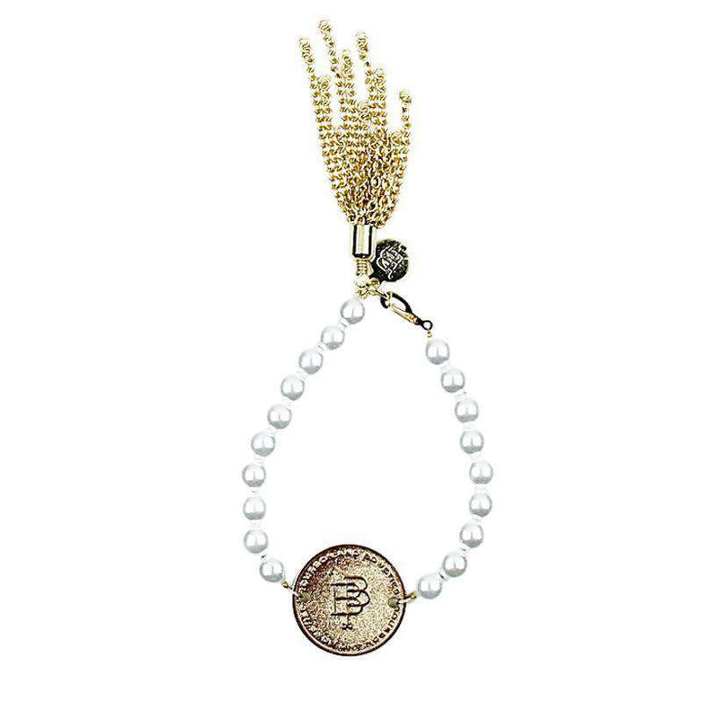 Bracelets - Pearl Bracelet With Coin And Gold Tassel By Bourbon And Boweties