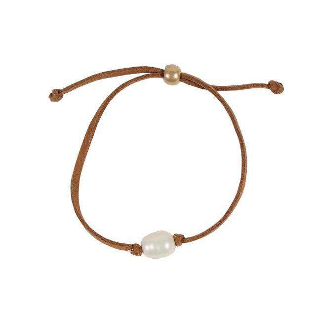Bracelets - Pearl Leather Bracelet In Light Brown By Country Club Prep