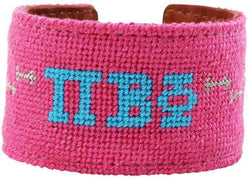 Bracelets - Pi Beta Phi Needlepoint Cuff Bracelet In Hot Pink By York Designs - FINAL SALE