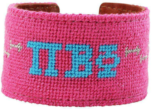 Pi Beta Phi Needlepoint Cuff Bracelet in Hot Pink by York Designs - Country Club Prep