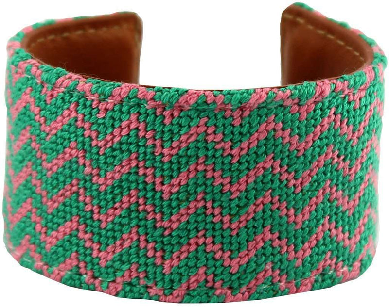 Bracelets - Pink And Green Chevron Needlepoint Cuff Bracelet By York Designs