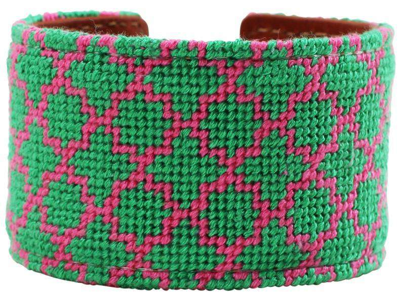 Pink and Green Quatrafoil Needlepoint Cuff Bracelet by York Designs - Country Club Prep