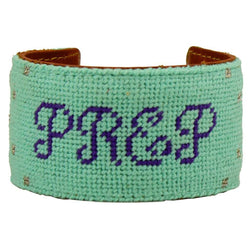 Bracelets - Prep In Your Step Needlepoint Cuff Bracelet In Light Teal By York Designs - FINAL SALE