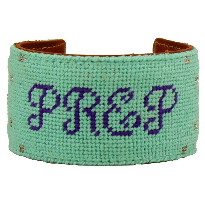 Prep in Your Step Needlepoint Cuff Bracelet in Light Teal by York Designs - FINAL SALE