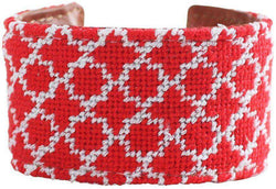 Red and White Quatrafoil Needlepoint Cuff Bracelet by York Designs - Country Club Prep