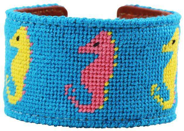 Sea Horses Needlepoint Cuff Bracelet in Tropical Blue by York Designs