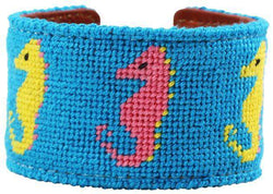 Sea Horses Needlepoint Cuff Bracelet in Tropical Blue by York Designs - Country Club Prep