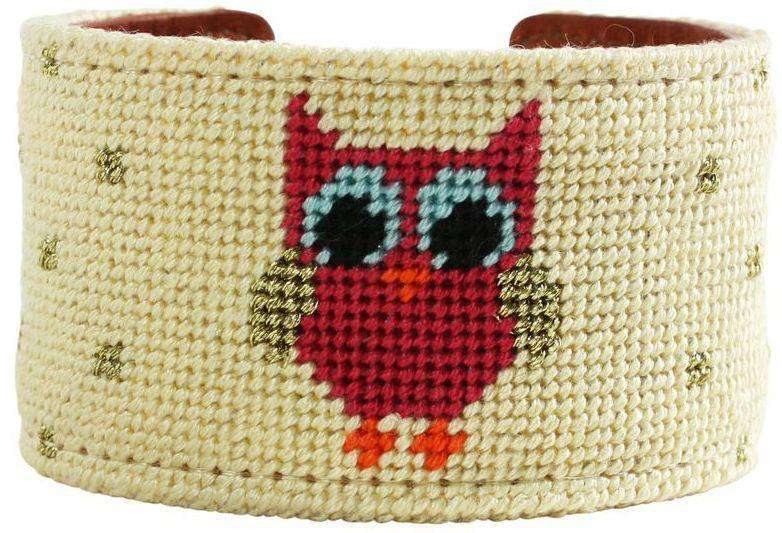 She's a Hoot Needlepoint Cuff Bracelet in Straw by York Designs - Country Club Prep