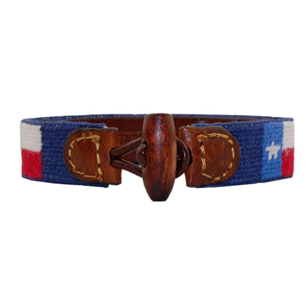Texas Flag Needlepoint Bracelet in Classic Navy by Smathers & Branson