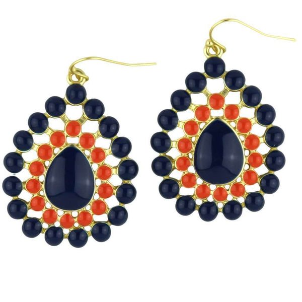 The Natalie Earring in Navy and Orange by Fornash