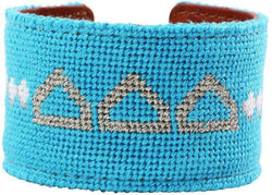 Tri Delta Needlepoint Cuff Bracelet in Cerulean Blue by York Designs - Country Club Prep
