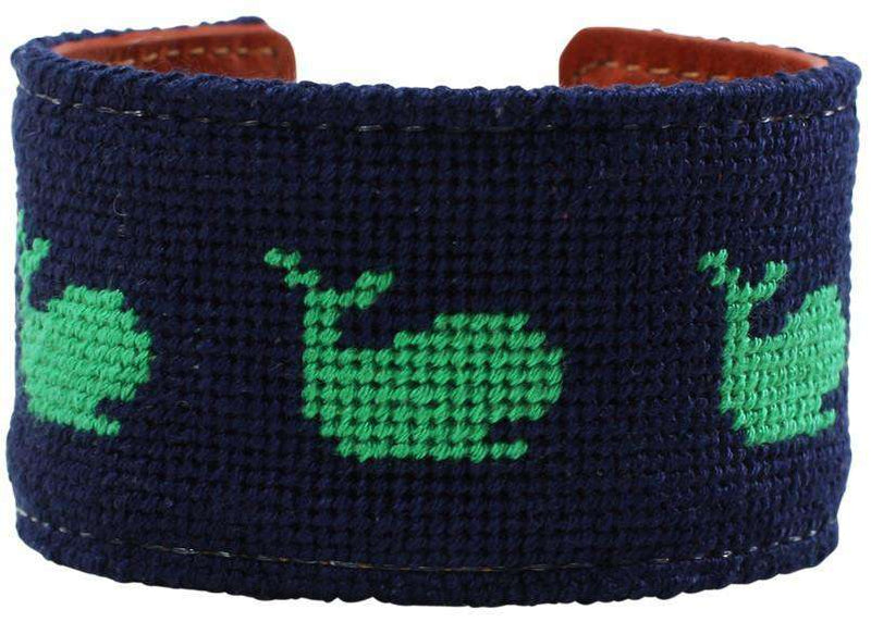Whale of a Time Needlepoint Cuff Bracelet in Navy by York Designs - Country Club Prep
