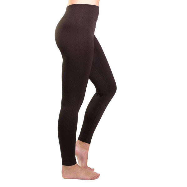 Country Club Prep Ultra-Soft Seamless Fleece Lined Leggings in Brown