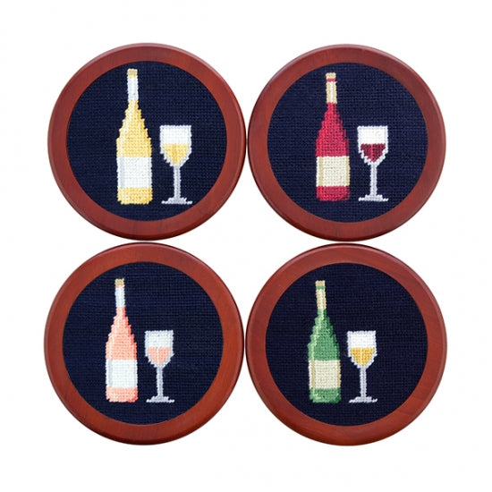 Wine Bottle Needlepoint Coasters by Smathers & Branson
