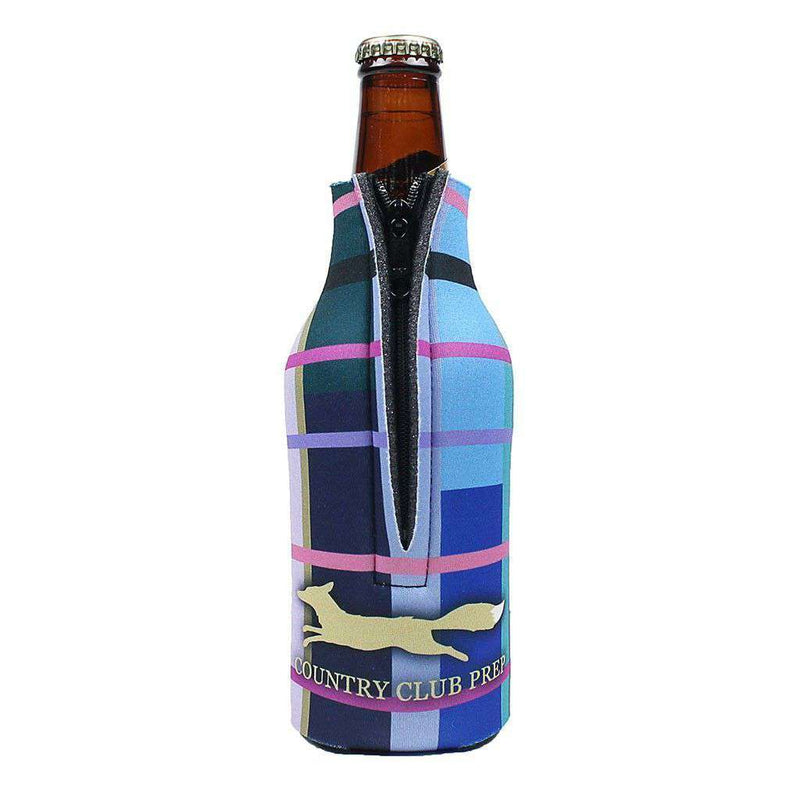 "Can Holders - 12 Oz ""Zip"" Madras Plaid Bottle Holder In Navy By Country Club Prep"