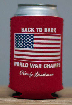 Can Holders - Back To Back World War Champs Can Holder In Red By Rowdy Gentleman