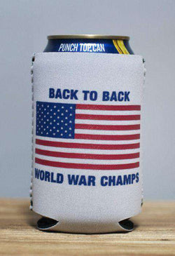 Can Holders - Back To Back World War Champs Can Holder In White By Rowdy Gentleman