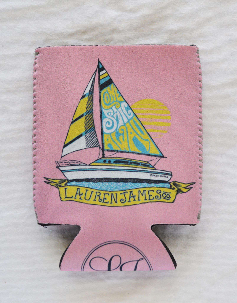 Can Holders - Come Sail Away Can Holder In Pink By Lauren James - FINAL SALE