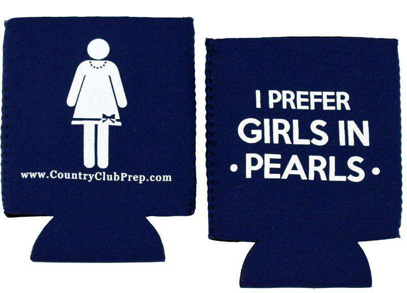 Can Holders - I Prefer Girls In Pearls Can Holder In Navy By Country Club Prep
