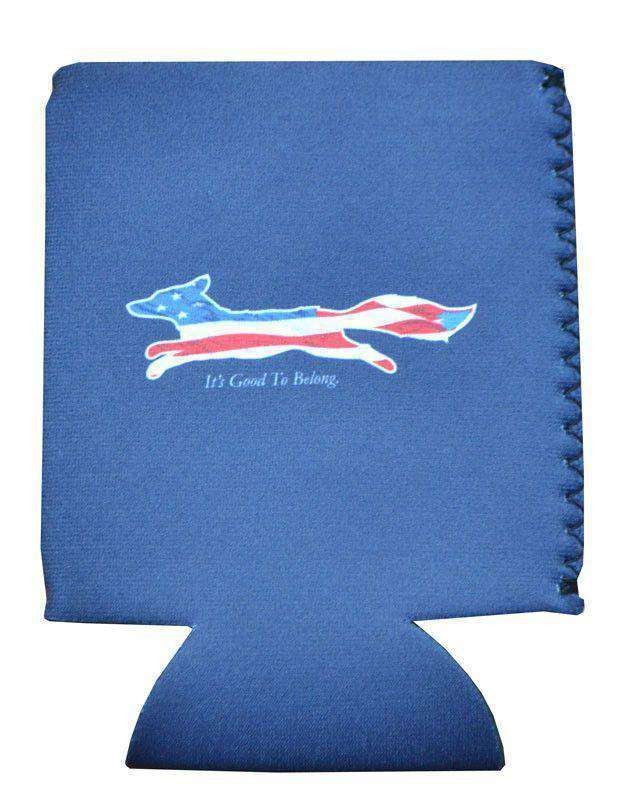 """Longshanks"" American Flag Can Holder in Navy by Country Club Prep"