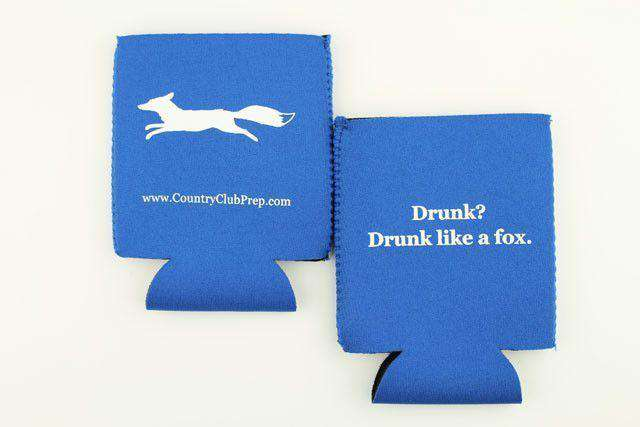 "Can Holders - ""Longshanks"" Drunk Like A Fox Can Holder In Blue By Country Club Prep"