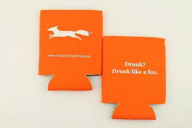 "Can Holders - ""Longshanks"" Drunk Like A Fox Can Holder In Orange By Country Club Prep"