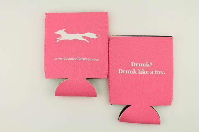 """Longshanks"" Drunk Like a Fox Can Holder in Pink by Country Club Prep"