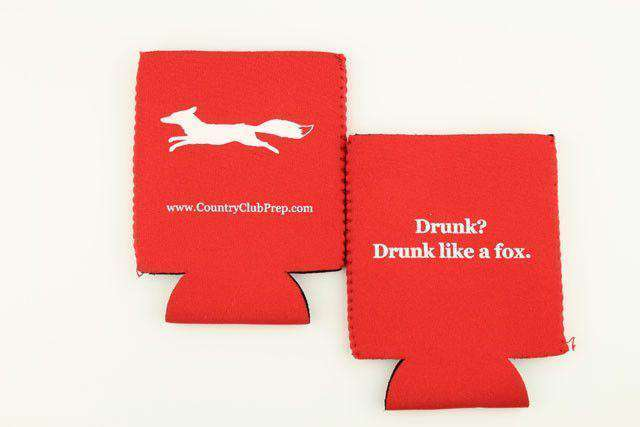 "Can Holders - ""Longshanks"" Drunk Like A Fox Can Holder In Red By Country Club Prep"