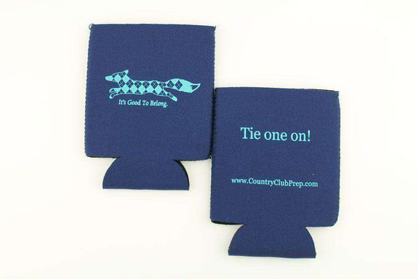 "Can Holders - ""Longshanks"" Tie One On Can Holder In Navy By Country Club Prep"