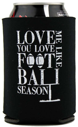 Can Holders - Love Me Like You Love Football Season Can Holder In Black With Cream Letters By Judith March - FINAL SALE