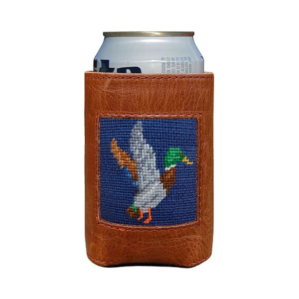 Mallard Needlepoint Can Cooler in Classic Navy by Smathers & Branson