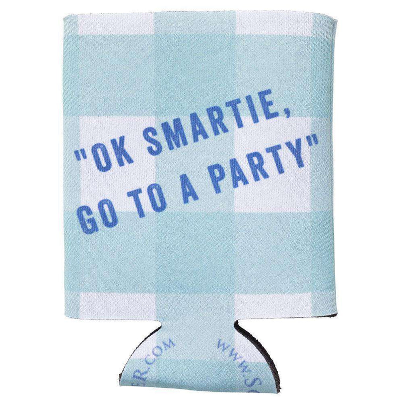 Can Holders - OK Smartie, Go To A Party Can Holder In Aqua Gingham By Southern Proper
