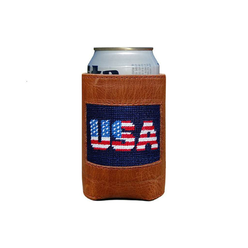 Can Holders - Patriotic USA Needlepoint Can Holder By Smathers & Branson