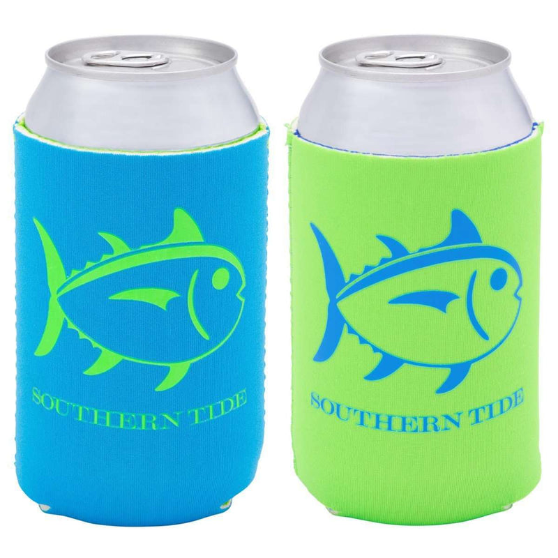 Can Holders - Reversible Can Caddie In Waterfall Blue/Lime Green By Southern Tide