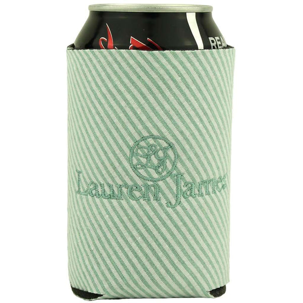 Can Holders - Seersucker Can Holder In Mint Green By Lauren James - FINAL SALE