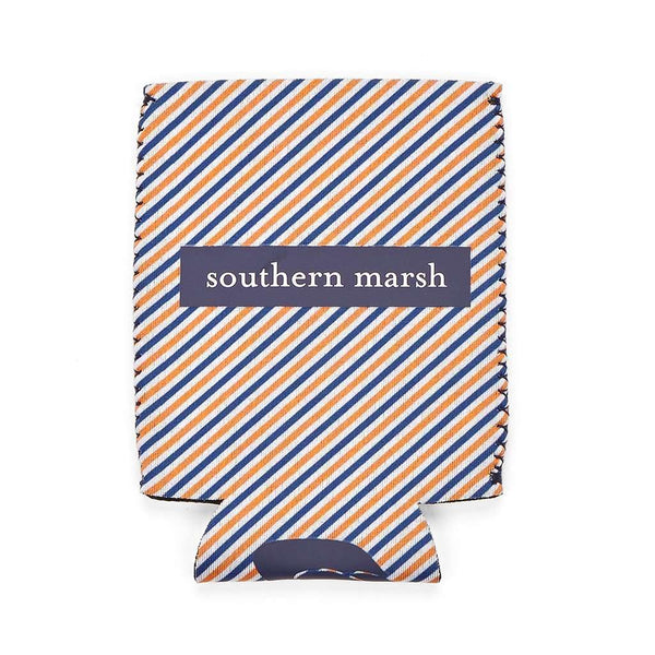 Signature Coozie in Orange Stripe with Navy by Southern Marsh